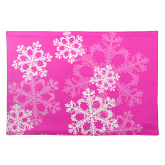 Cute pink and white Christmas snowflakes Placemat