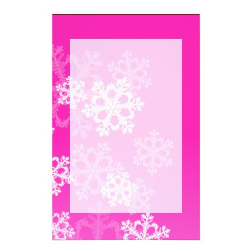 Cute pink and white Christmas snowflakes Stationery Design