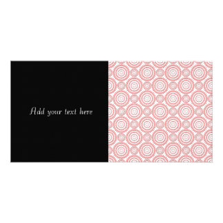 Cute Pink and White Geometric Circles Pattern Photo Greeting Card