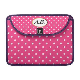 Cute Pink and White Polka Dot Pattern Monogram MacBook Pro Sleeve