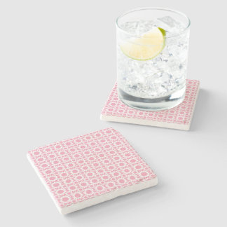 Cute Pink and White Star Flower Pattern Stone Coaster