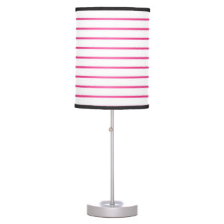 Cute Pink and White Stripes Table Lamp