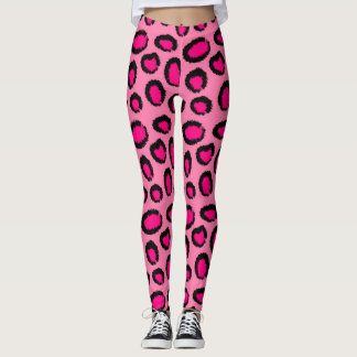 Cute pink animal pattern background leggings