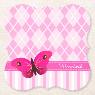 Cute Pink Argyle Butterfly Custom Name Set of 6 Paper Coaster