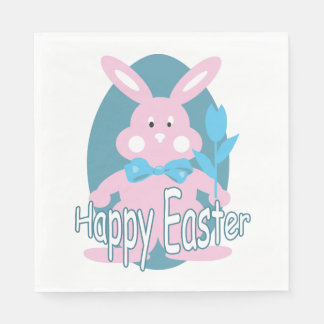 Cute Pink Baby Easter Bunny Napkin Disposable Napkins