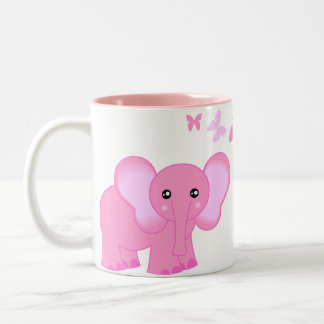 Cute Pink Baby Elephant And Butterflies Mug