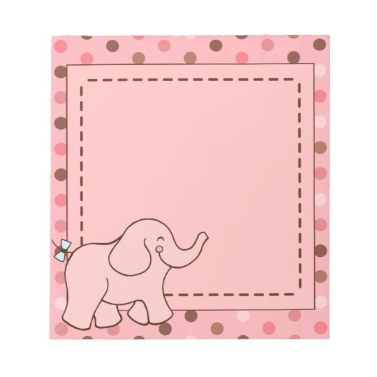 Cute Pink Baby Elephant Notepad Gift