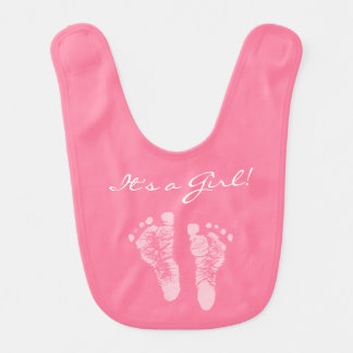 Cute Pink Baby Footprints Its a Girl Baby Shower Bibs