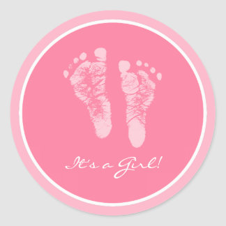 Cute Pink Baby Footprints Its a Girl Baby Shower Classic Round Sticker