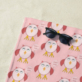 Cute Pink Baby Girl Owl Beach Towel