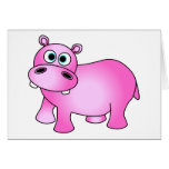 Cute Pink Baby Hippo Card
