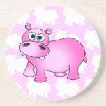 Cute Pink Baby Hippo Coasters