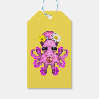 Cute Pink Baby Octopus Hippie Gift Tags