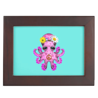 Cute Pink Baby Octopus Hippie Keepsake Box