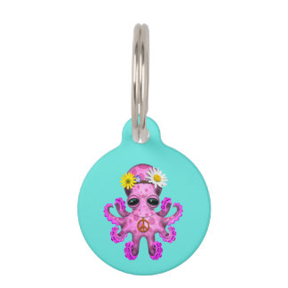 Cute Pink Baby Octopus Hippie Pet Name Tag