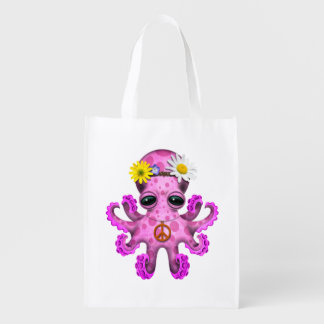 Cute Pink Baby Octopus Hippie Reusable Grocery Bag