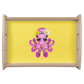 Cute Pink Baby Octopus Hippie Serving Tray