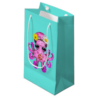 Cute Pink Baby Octopus Hippie Small Gift Bag