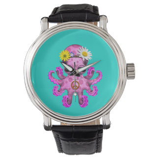 Cute Pink Baby Octopus Hippie Watch
