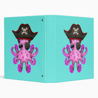 Cute Pink Baby Octopus Pirate Binder