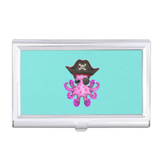 Cute Pink Baby Octopus Pirate Business Card Holder