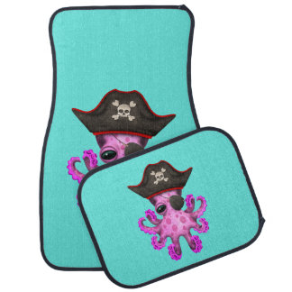 Cute Pink Baby Octopus Pirate Car Mat