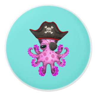 Cute Pink Baby Octopus Pirate Ceramic Knob