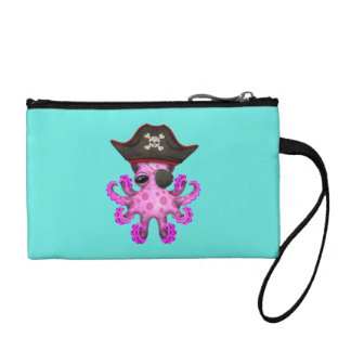Cute Pink Baby Octopus Pirate Coin Purse