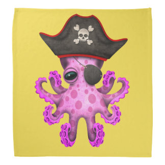 Cute Pink Baby Octopus Pirate Head Kerchief