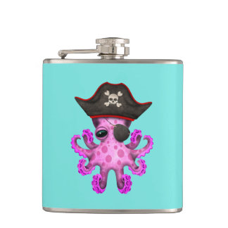 Cute Pink Baby Octopus Pirate Hip Flask