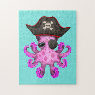 Cute Pink Baby Octopus Pirate Jigsaw Puzzle