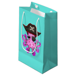 Cute Pink Baby Octopus Pirate Small Gift Bag