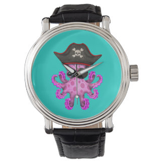 Cute Pink Baby Octopus Pirate Watch