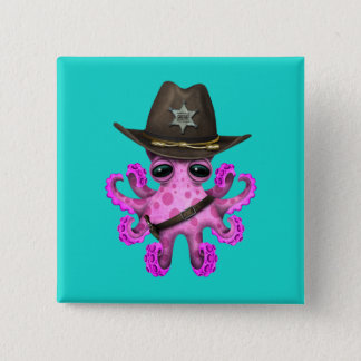 Cute Pink Baby Octopus Sheriff 2 Inch Square Button