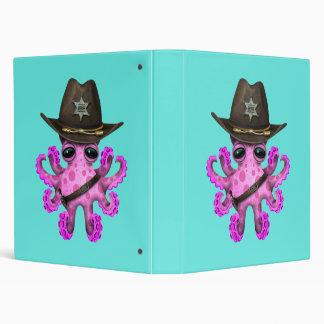Cute Pink Baby Octopus Sheriff 3 Ring Binder