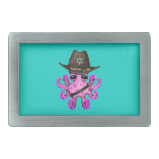 Cute Pink Baby Octopus Sheriff Belt Buckle