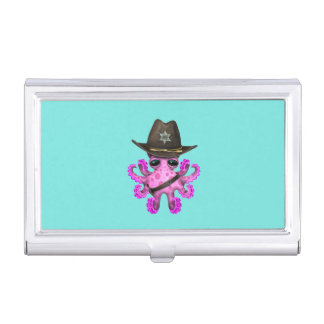 Cute Pink Baby Octopus Sheriff Business Card Holder