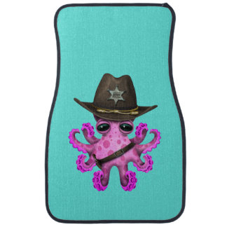 Cute Pink Baby Octopus Sheriff Car Mat