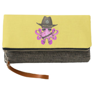 Cute Pink Baby Octopus Sheriff Clutch