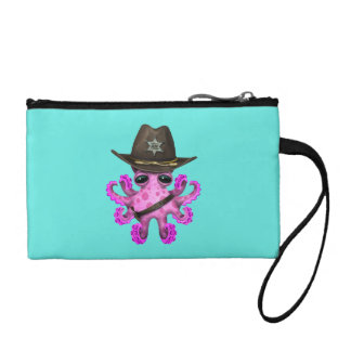 Cute Pink Baby Octopus Sheriff Coin Wallets