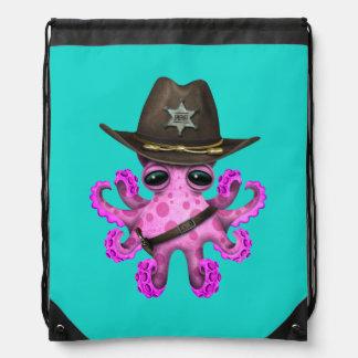 Cute Pink Baby Octopus Sheriff Drawstring Bag