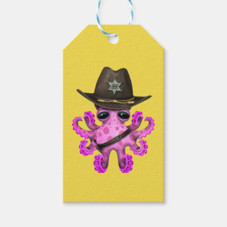 Cute Pink Baby Octopus Sheriff Gift Tags