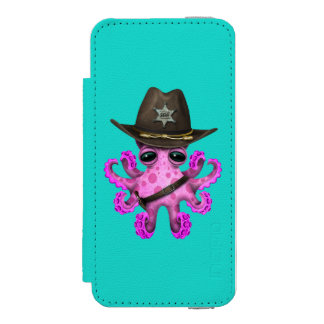 Cute Pink Baby Octopus Sheriff Incipio Watson™ iPhone 5 Wallet Case