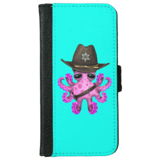 Cute Pink Baby Octopus Sheriff iPhone 6 Wallet Case