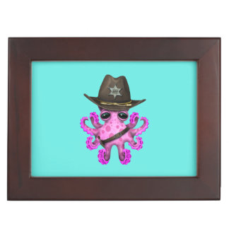 Cute Pink Baby Octopus Sheriff Keepsake Box