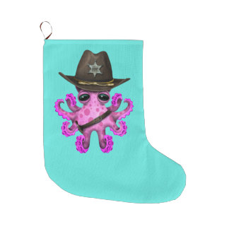 Cute Pink Baby Octopus Sheriff Large Christmas Stocking