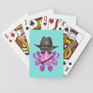 Cute Pink Baby Octopus Sheriff Playing Cards