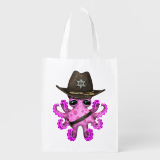 Cute Pink Baby Octopus Sheriff Reusable Grocery Bag
