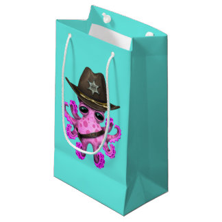Cute Pink Baby Octopus Sheriff Small Gift Bag
