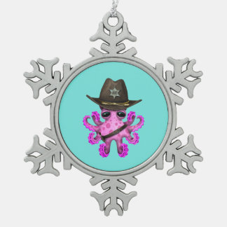 Cute Pink Baby Octopus Sheriff Snowflake Pewter Christmas Ornament